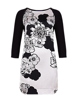 3/4 Sleeve Floral Tunic Clothing