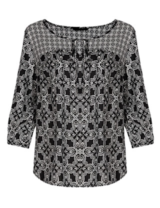 Tile Print Top Clothing