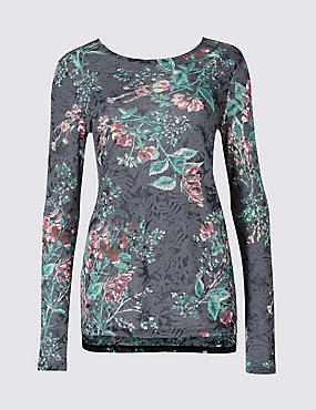 Wisteria Print Long Sleeve Blouse