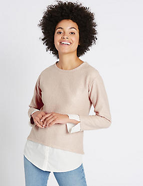 Boucle Foil Mock Hem Long Sleeve Top