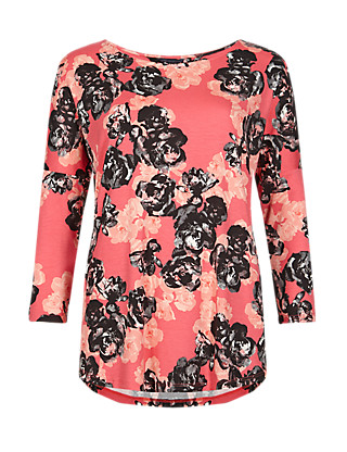 Rose Print Drop Shoulder Top Clothing