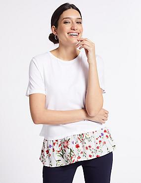 Cotton Rich Printed Short Sleeve T-Shirt, IVORY MIX, catlanding