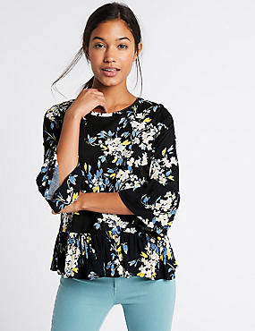 Pure Cotton Floral Print Peplum Shell Top