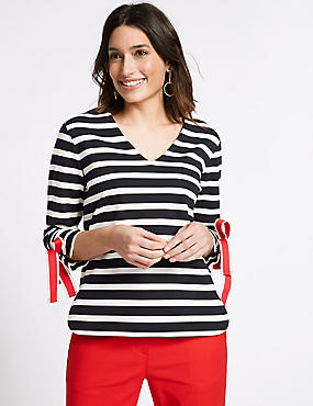 Striped Bow Tie Sleeve V-Neck T-Shirt