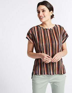 Striped Plisse Short Sleeve T-Shirt, PINK MIX, catlanding