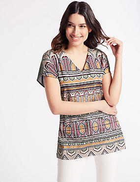 Geometric Print V-Neck Short Sleeve Tunic