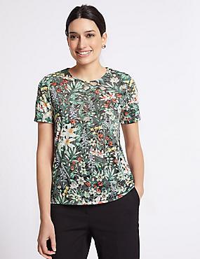 Floral Print Short Sleeve T-Shirt, CHARCOAL MIX, catlanding