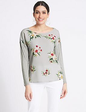 Floral Print Woven Front Long Sleeve T-Shirt, GREY, catlanding