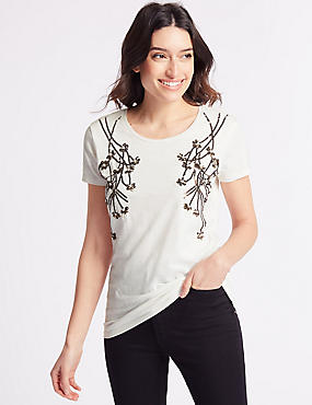 Cotton Rich Embellished Branch Front T-Shirt