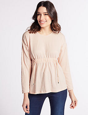 Drawstring Detail Long Sleeve T-Shirt, BLUSH, catlanding