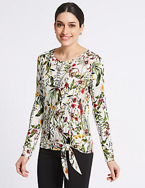 Floral Print Long Sleeve Sweatshirt, WHITE MIX, catlanding