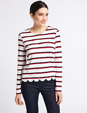 Striped Scallop Hem Long Sleeve Top, IVORY MIX, catlanding