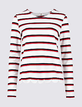 Striped Round Neck Long Sleeve Top, IVORY MIX, catlanding