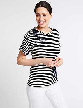 Pure Cotton Embroidered Stripe T-Shirt, NAVY MIX, catlanding