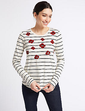 Pure Cotton Striped Embellished Top, IVORY MIX, catlanding