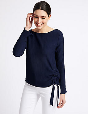 Textured Tie Side Long Sleeve Top , NAVY, catlanding