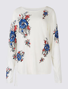 Embellished Floral Print Long Sleeve Top