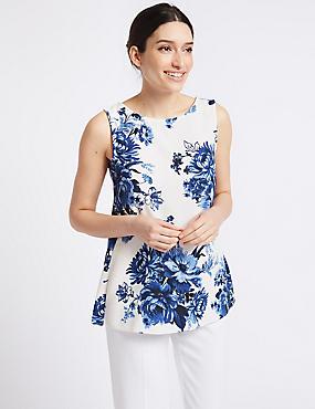 Floral Print Round Neck Tunic , BLUE MIX, catlanding