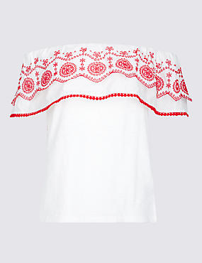 Pure Cotton Embroidered Bardot Top