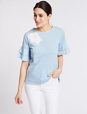 Pure Cotton Striped Ruffle Sleeve T-Shirt