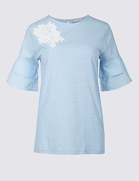 Pure Cotton Striped Ruffle Sleeve T-Shirt, ROYAL BLUE, catlanding