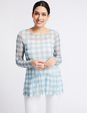 Checked Sheer Ruffle Hem Long Sleeve Top, BLUE MIX, catlanding