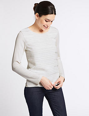 Textured Round Neck Long Sleeve Top, IVORY MIX, catlanding