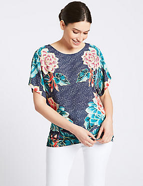 Mirror Floral Pint Short Sleeve Top