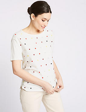 Pure Cotton Embroidered Short Sleeve Top, IVORY MIX, catlanding