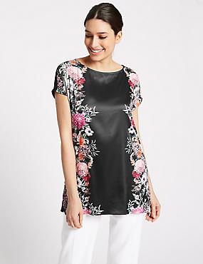 Mirror Floral Print Short Sleeve Tunic, ORANGE MIX, catlanding