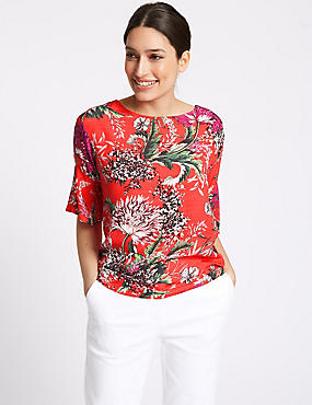 Floral Print Round Neck Long Sleeve Top , RED MIX, catlanding