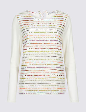 Printed Round Neck Long Sleeve Top , IVORY MIX, catlanding
