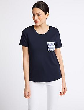 Pure Cotton Broderie Back T-Shirt, NAVY MIX, catlanding