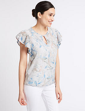 Jacquard Front Round Neck Short Sleeve Top, IVORY MIX, catlanding