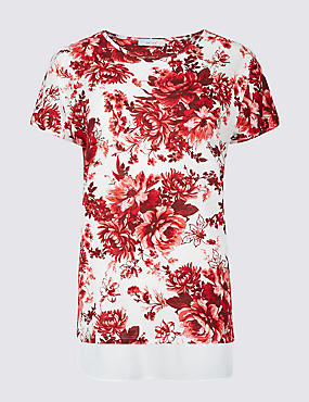 Cotton Blend Floral Print Short Sleeve Tunic