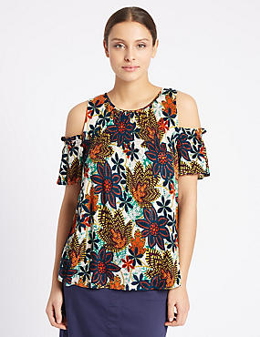 Floral Print Cold Shoulder Jersey Top