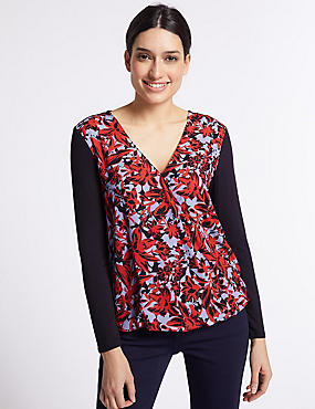 Floral Print Bubble Hem V-Neck Blouse, NAVY MIX, catlanding