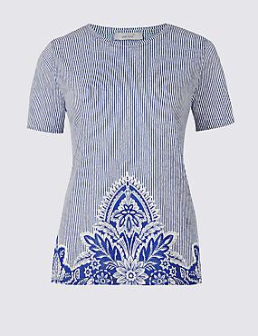 Floral Print Hem Short Sleeve T-Shirt, BLUE MIX, catlanding
