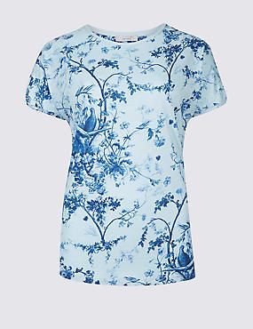 Cotton Blend Printed Short Sleeve T-Shirt , IVORY MIX, catlanding