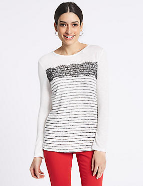 Striped Lace Trim Long Sleeve T-Shirt