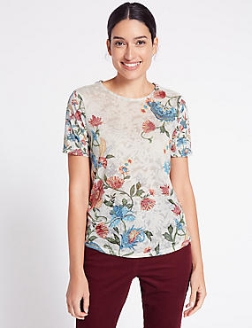 Burnout Floral Print Short Sleeve T-Shirt
