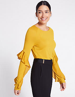 Satin Round Neck Ruffle Sleeve T-Shirt