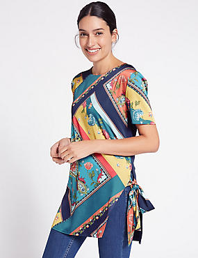 Satin Printed Tie Side Short Sleeve Tunic