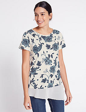 Cotton Blend Floral Print T-Shirt