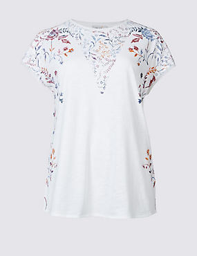 Cotton Blend Floral Print Jersey Top