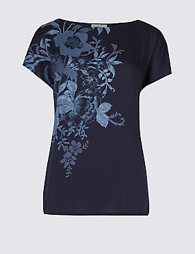 Floral Print Satin Front T-Shirt