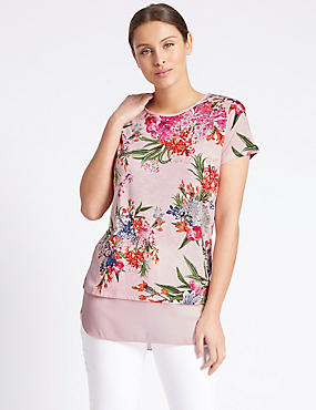 Floral Print Short Sleeve Jersey Top