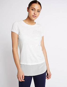 Cotton Blend Beaded T-Shirt