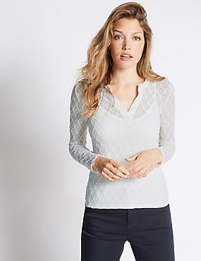 V-Neck Geo Lace Jersey Top