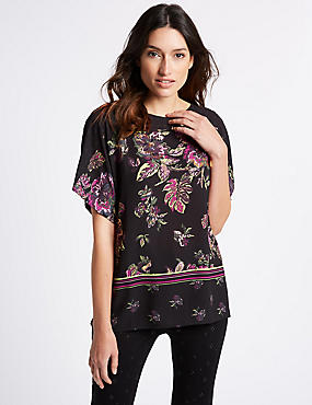 Floral Print Slash Neck Half Sleeve T-Shirt